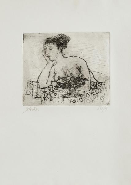Frau mit Fruchtschale