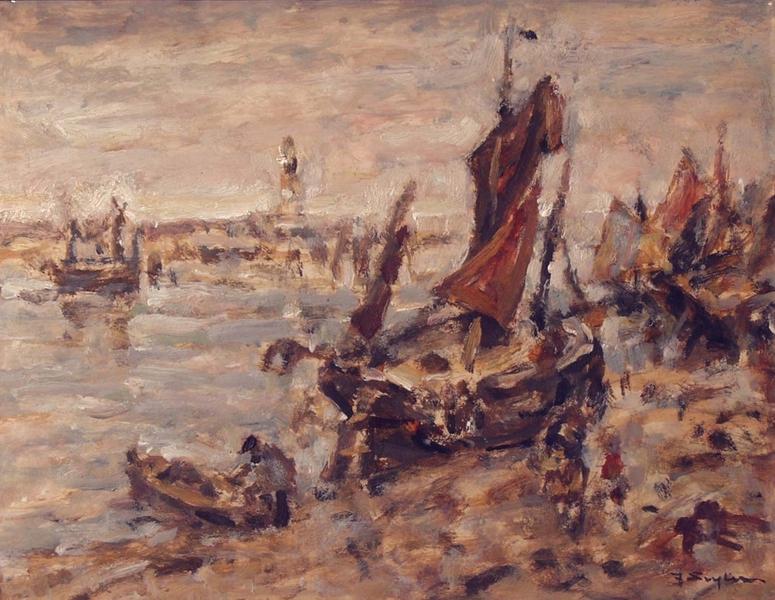 Ebbe im Kanal von Nieuport